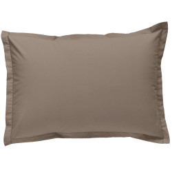 Taie d oreiller à volants  50x70 cm TAUPE Percale de Coton