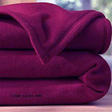 COUVERTURE POLAIRE 260 X 240 AUBERGINE 350 gr norme ISO