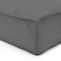 Drap housse Flanelle  Molleton Douceur 160 x 200 GRIS FONCE bonnet de 30 cm