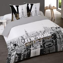 Housse de couette 260 x 240 +2 Taies NEW YORK BUILDINGS New Coton