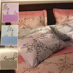 Parure de draps FLANELLE Pour lit de 140 Fleurs de pommiers Bleu 4 PIECES  220x290 en 160 gr