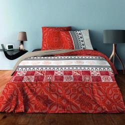 Parure de draps AZULEJO ORANGE pour lit de 140 x190 cm  4 PIECES