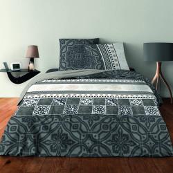 Parure de draps pour lit de 160 x 200 cm 4 PIECES AZULEJO GRIS Coton 57 fils supérieur