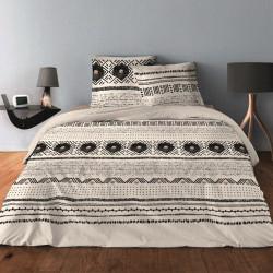 Parure de draps BOUTON BEIGE pour lit de 140 x190 cm  4 PIECES