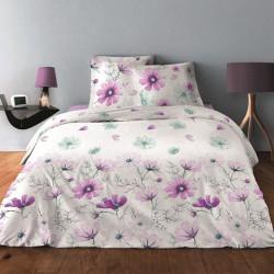 Parure de draps FLEUR MAUVE pour lit de 140 x190 cm  4 PIECES