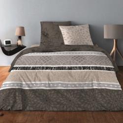 Parure de draps INTEMPOREL MARRON pour lit de 140 x190 cm  4 PIECES