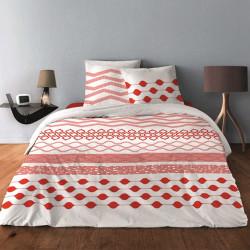 Parure de draps GEOMETRIQUE LIGNE ROUGE ORANGE pour lit de 140 x190 cm  4 PIECES
