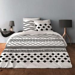 Parure de draps GEOMETRIQUE LIGNE NOIR pour lit de 140 x190 cm  4 PIECES