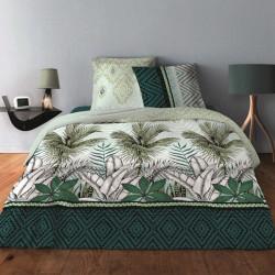 Parure de draps JUNGEL VERT pour lit de 140 x190 cm  4 PIECES