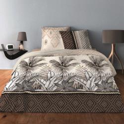 Parure de draps JUNGEL TAUPE pour lit de 140 x190 cm  4 PIECES