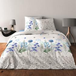 Parure de draps PRINTEMPS BLEU pour lit de 140 x190 cm  4 PIECES