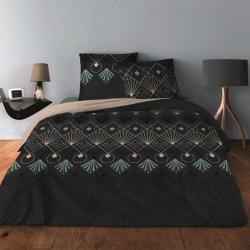 Parure de draps ARC DECO Celadon pour lit de 140 x190 cm  4 PIECES