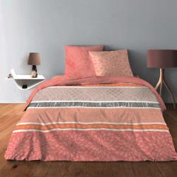 Parure de draps  pour lit de 160 x 200 cm  4 PIECES INTEMPOREL Saumon Coton 57 fils supérieur