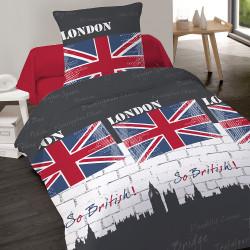 Housse de couette 140 x 200 + 1 Taie 65 cm SO BRITISH 2014  100%  Coton