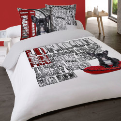Housse de couette LONDRES PICCADILLY 200 x 200 +2 Taies  Coton