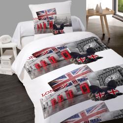 Housse de couette BRITISH STYLE Londres 140 x 200 + 1 Taie  100%  Coton