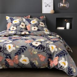 Parure de draps 270 x 300 cm 3 PIECES LAINHA GRIS Percale de Coton