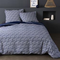 Parure de draps 270 x 300 cm 3 PIECES ALIA MARINE Percale de Coton
