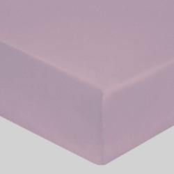 DRAP HOUSSE 140 x 190 cm VIOLET ICE VERITABLE PERCALE DE COTON Bonnet de 30 cm