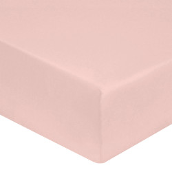 DRAP HOUSSE 160 x 200  ROSE  VERITABLE SATIN DE COTON bonnet 30 cm