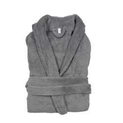 PEIGNOIR - Robe de CHAMBRE Douceur mixte GRIS PERLE taille S- M 200 g-m2