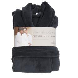 PEIGNOIR - Robe de CHAMBRE Douceur mixte GRIS ANTHRACITE taille L- XL 200 g-m2