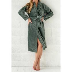 PEIGNOIR - Robe de CHAMBRE Douceur PINEAPPLE VERT taille L - XL 280 g-m2