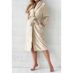 PEIGNOIR - Robe de CHAMBRE Douceur PINEAPPLE BEIGE ECRU taille S - M 280 g-m2