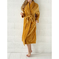 PEIGNOIR - Robe de CHAMBRE Douceur PINEAPPLE OCRE taille S - M 280 g-m2