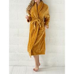 PEIGNOIR - Robe de CHAMBRE Douceur PINEAPPLE OCRE taille L- XL 280 g-m2