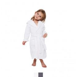 PEIGNOIR capuche enfant  éponge velours BLANC passepoil ROSE 4 - 6 ans Coton Peigné