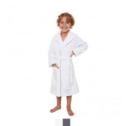 PEIGNOIR capuche enfant  éponge velours BLANC passepoil GRIS 4 - 6 ans Coton Peigné