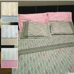 Parure de draps FLANELLE pour lit de 160x200 LOSANGE ROSE 4 PIECES  240x300 en 160 gr
