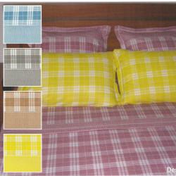 Parure de draps FLANELLE ECOSSAIS  OCRE 3 PIECES  280x300 cm pour lit de 160 , 180 , 200 cm de large
