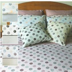 Parure de draps FLANELLE pour lit de 140 ROND LUNE GRIS 4 PIECES  220x290 en 160 gr