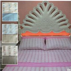Parure de draps FLANELLE pour lit de 160 x 200 RIZ COQUILLE 4 PIECES  240x300 en 160 gr