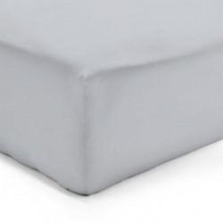 DRAP HOUSSE 140 x 190 cm GRIS PERLE VERITABLE PERCALE DE COTON Bonnet de 40 cm