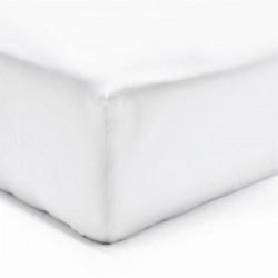 DRAP HOUSSE 140 x 190 cm BLANC VERITABLE PERCALE DE COTON Bonnet de 40 cm