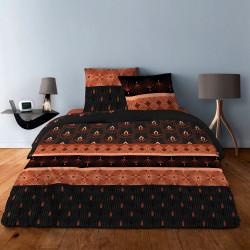 Parure de draps  pour lit de 160 x 200 cm  4 PIECES ART DECO III ROUILLE  Coton 57 fils supérieur