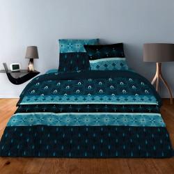 Parure de draps  pour lit de 160 x 200 cm  4 PIECES ART DECO III BLEU Coton 57 fils supérieur