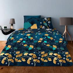 Parure de draps  pour lit de 160 x 200 cm  4 PIECES GINKGO BLEU Coton 57 fils supérieur