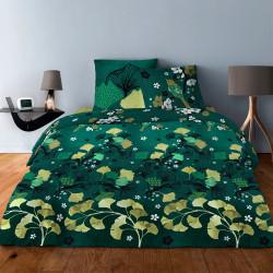 Parure de draps  pour lit de 160 x 200 cm  4 PIECES GINKGO VERT Coton 57 fils supérieur