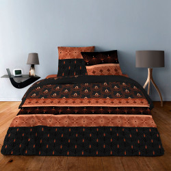 Parure de draps ART DECO III ROUILLE  pour lit de 140 x190 cm  4 PIECES