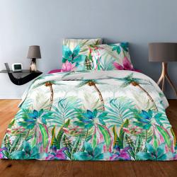 Parure de draps PALMIER VERT  pour lit de 140 x190 cm  4 PIECES
