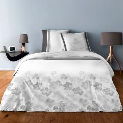 Parure de draps MARRONNIERS GRIS  pour lit de 140 x190 cm  4 PIECES