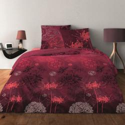 Parure de draps JAPONISANT BORDEAUX  pour lit de 140 x190 cm  4 PIECES