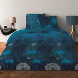 Parure de draps JAPONISANT BLEU pour lit de 140 x190 cm  4 PIECES