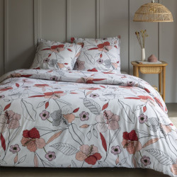 Housse de couette  260 x 240 cm + 2 Taies ROSE SAUVAGE Coton traditionnel
