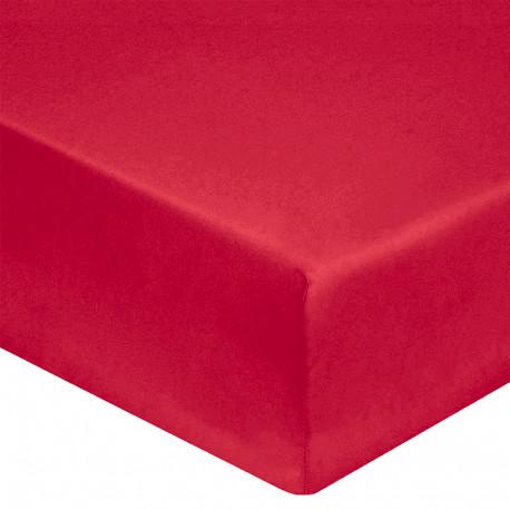 DRAP HOUSSE 140 x 200 cm ROUGE VERITABLE PERCALE DE COTON Bonnet de 30 cm