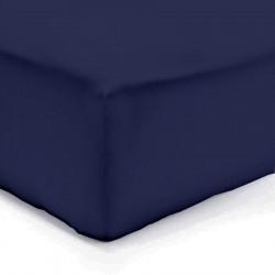 DRAP HOUSSE 140 x 190 cm MARINE VERITABLE PERCALE DE COTON Bonnet de 40 cm